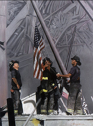 """""""Raising the Flag"""" Oil on Canvas painted 3 months after that tragic day by"""